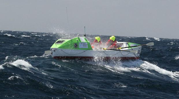 The team during their 3,000-mile crossing of the Pacific (Rod Mayer/GreatPacificRace/PA)