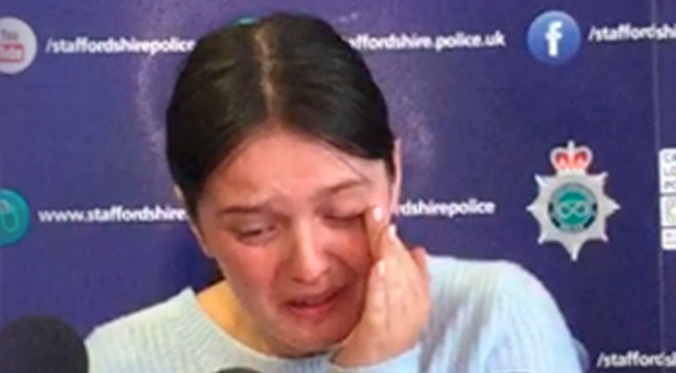 A tearful Gemma Eastwood makes an appeal for her missing sister Samantha at Staffordshire Police headquarters in Stoke yesterday