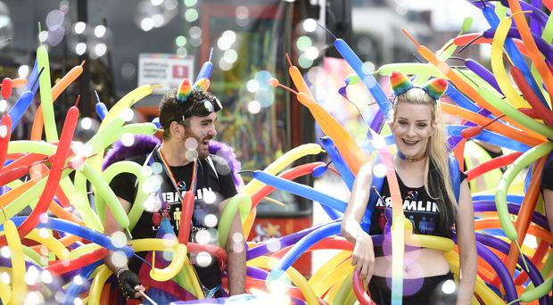 Dancers taking part in the Belfast Pride parade (Michael Cooper/PA)