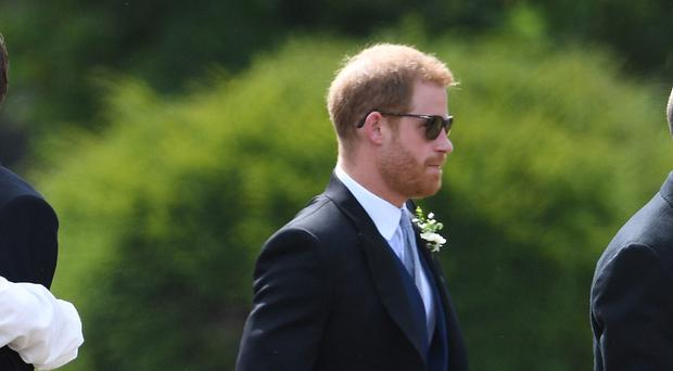 The Duke of Sussex arrives for the wedding of Charlie van Straubenzee and Daisy Jenks (Joe Giddens/PA)