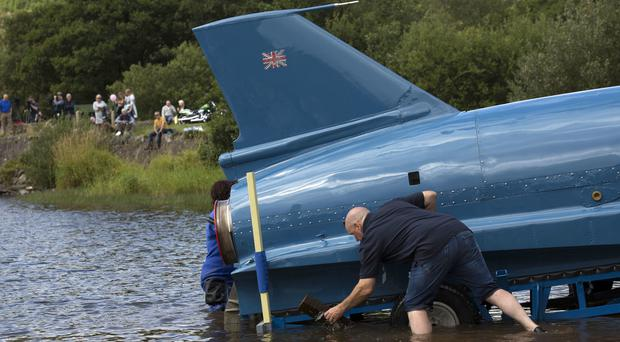 The restored Bluebird K7 before it took to the water for the first time in more than 50 years (David Cheskin/PA)