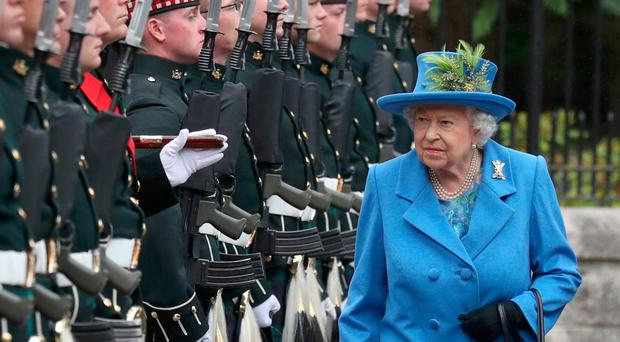 The Queen inspects Balaclava Company, 5 Battalion The Royal Regiment of Scotland at the gates at Balmoral