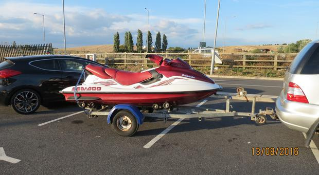 A jet-ski which was purchased by a gang of bungling people-smugglers (National Crime Agency/PA)