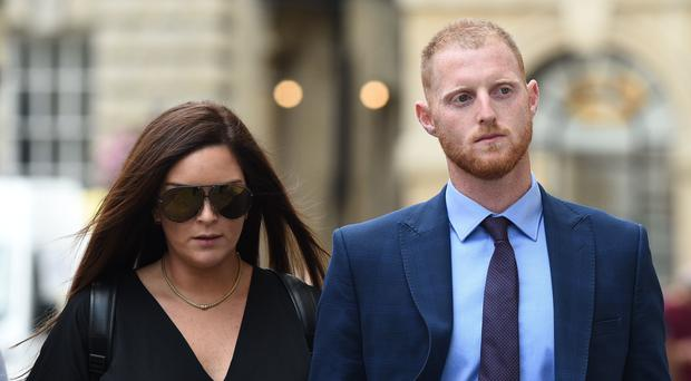 Ben Stokes and his wife Clare outside Bristol Crown Court (Ben Birchall/PA)