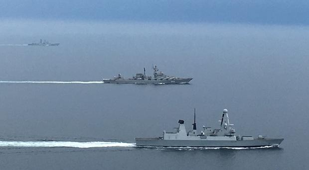 Type 45 destroyer HMS Diamond shadowing two Russian warships, destroyer Severomorsk and cruiser Marshal Ustinov (Ministry of Defence/PA)
