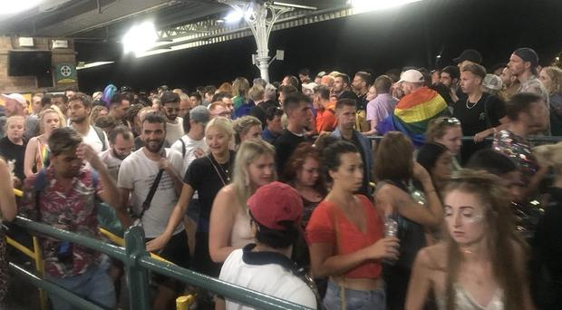 Crowds of people at Brighton train station following Brighton Pride (Geraldine Carr/PA)