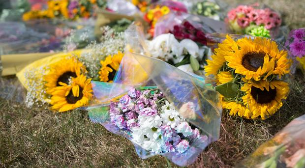 Floral tributes to Samantha Eastwood at the University Hospital of North Staffordshire (Aaron Chown/PA)