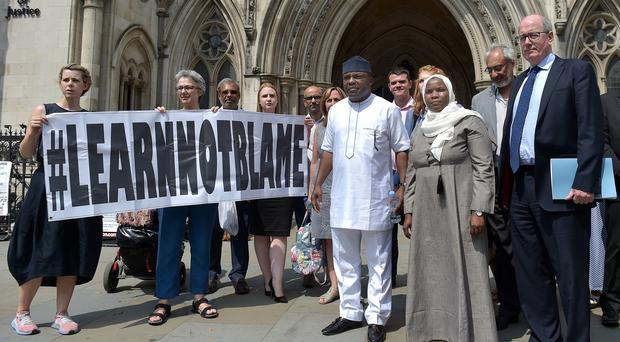 Hadiza Bawa-Garba with her supporters and legal team (Nick Ansell/PA)