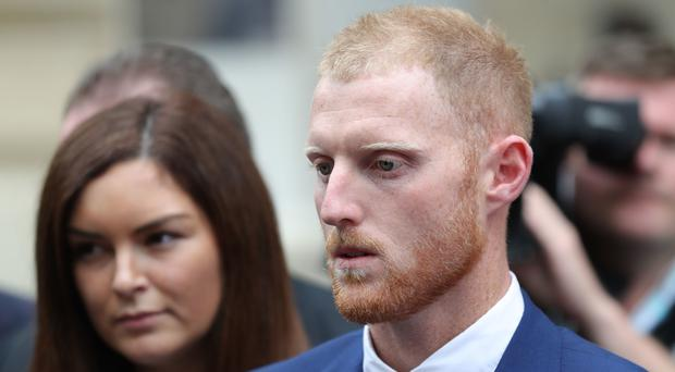 England cricketer Ben Stokes and his wife Clare leaving Bristol Crown Court (Andrew Matthews/PA)
