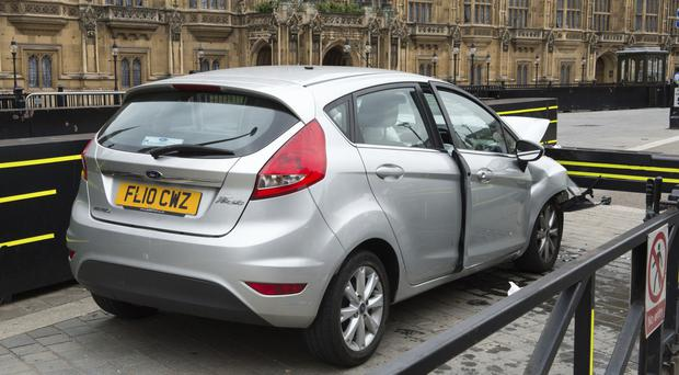 The silver Ford Fiesta that crashed outside the Houses of Parliament (Met Police)