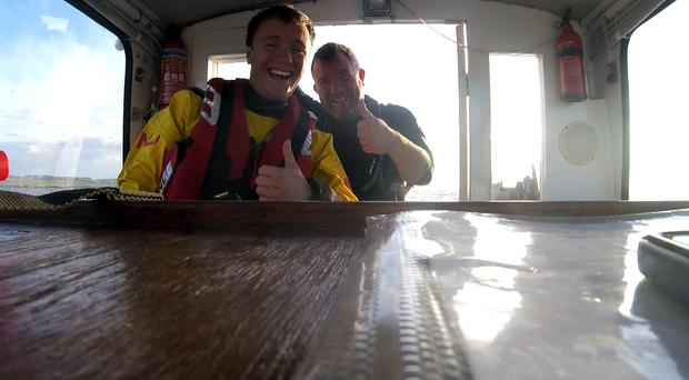 George and Brian Hodge return to shore after the callout on Anstruther volunteer lifeboat (RNLI/PA)