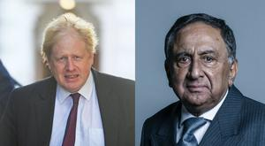 Lord Sheikh, right, said he was being attacked from within Tory ranks because he criticised Boris Johnson's comments regarding burkas (Victoria Jones/PA, Chris McAndrew/UK Parliament/PA)