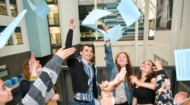Students at St Mary Radcliffe and Temple School in Bristol celebrate their A-level results (Ben Birchall/PA)