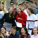 Students celebrate their A-level results at Brighton College in East Sussex (Gareth Fuller/PA)