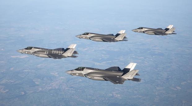 The first 617 Squadron F-35B, Lightning II aircraft flying over the UK (Ministry of Defence/PA)