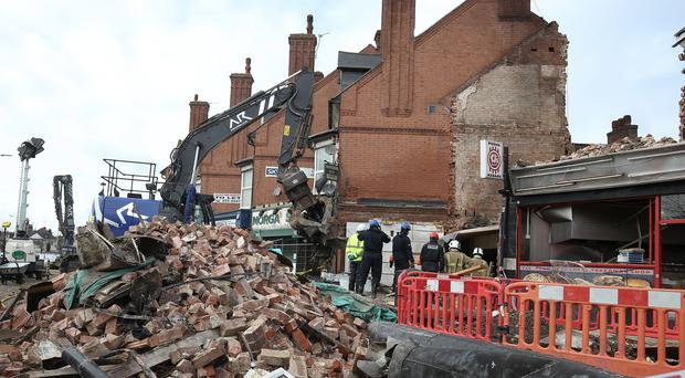 The scene on Hinckley Road in Leicester after the explosion (Aaron Chown/PA)