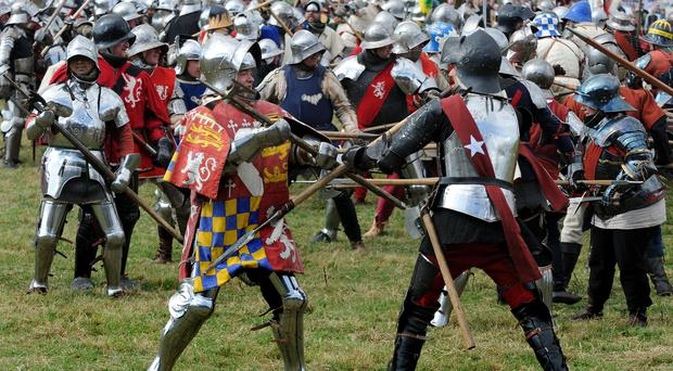 Enthusiasts re enact battle of Bosworth during the Bosworth Anniversary Event at Bosworth Heritage Centre, Market Bosworth.