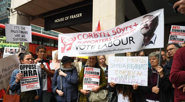 Activists outside a meeting of the Labour National Executive Committee in London (Stefan Rousseau/PA)
