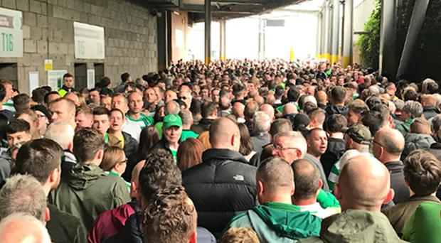 Fans attempting to enter the stadium ahead of the Old Firm match on Sunday (Mike Robb/Twitter/PA)