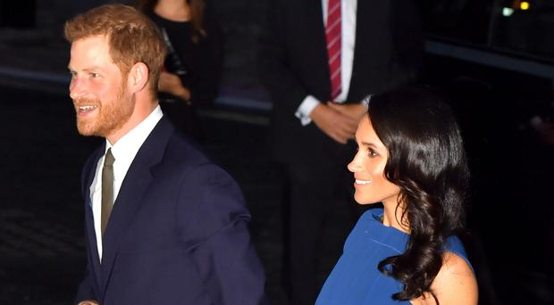 The Duke and Duchess of Sussex arriving for an evening of music marking the centenary of the end of the First World War (Dominic Lipinski/PA)