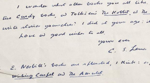 A letter from author CS Lewis to schoolchildren in 1952 (Dominic Winter Auctioneers/PA)