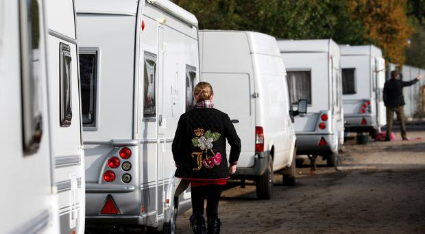 Caravans are parked up on an illegal site (Chris Radburn/PA)