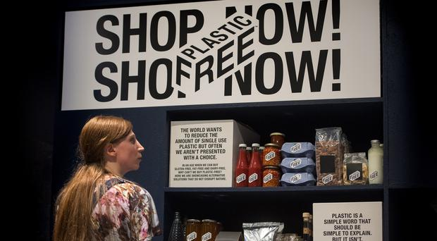 A plastic-free supermarket aisle designed by A Plastic Planet during a preview of the Beazley Designs of the Year (Victoria Jones/PA)