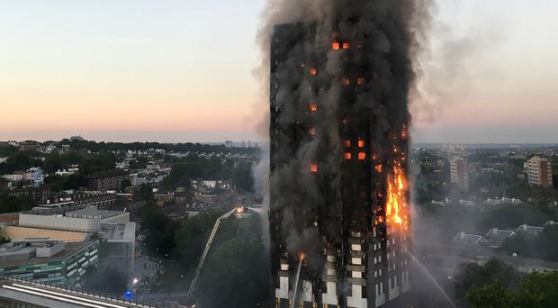Grenfell Tower during the blaze (Natalie Oxford/PA)