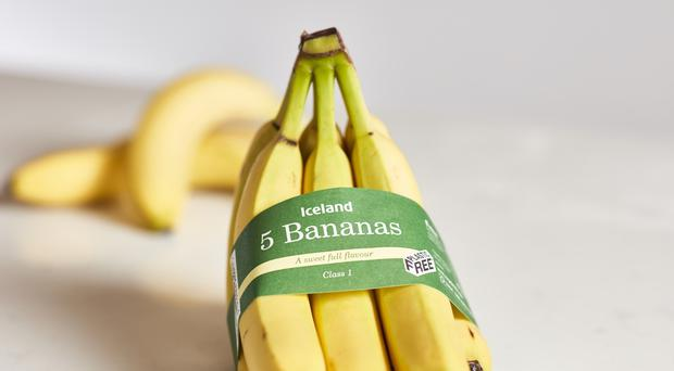 Iceland's new banana packaging. (Iceland/PA)