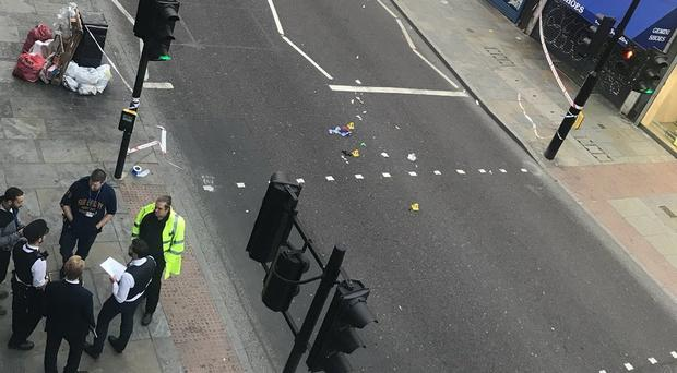 The scene in Dalston, east London, where a woman was hit by an electric bike (Matt Donald/PA)