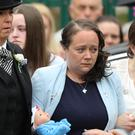 Tracey Taundry pictured at the funeral of her eight-year-old daughter (Aaron Chown/PA)