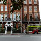 Emergency services at the scene near Kensington Court in London after reports of a chemical spillage at the Milestone Hotel (Kirsty O'Connor/PA)