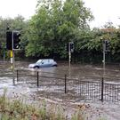 A flooded road between Sheffield and Rotherham (George Griffiths/Twitter/PA)