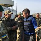 Defence Secretary Gavin Williamson meeting troops in Ukraine (Ministry of Defence)
