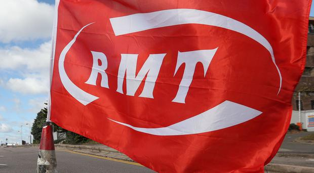 File photo dated 04/01/18 of an RMT flag. Workers are said to be solidly supporting a fresh strike in the long-running dispute over the role of guards on trains. RESS ASSOCIATION Photo. Issue date: Thursday May 24, 2018. Members of the Rail, Maritime and Transport (RMT) union at Arriva Rail North (Northern Rail) walked out for 24 hours on Thursday, with another stoppage due on Saturday. See PA story INDUSTRY Rail. Photo credit should read: Jonathan Brady/PA Wire