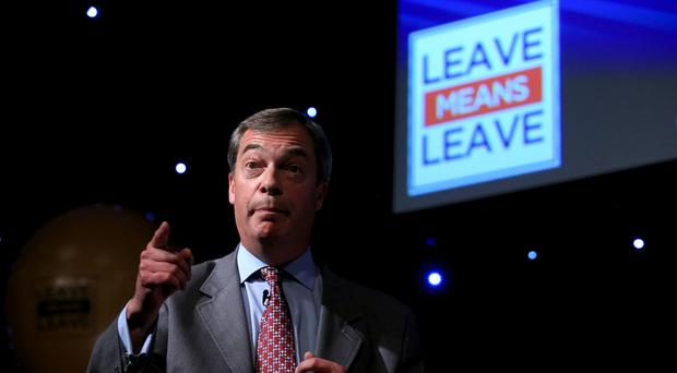 Nigel Farage speaks at a Leave Means Leave rally in Bolton (Peter Byrne/PA)