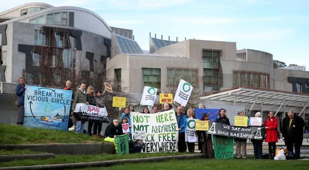 Anti-fracking campaigners held a protest outside the Scottish Parliament (Jane Barlow/PA)