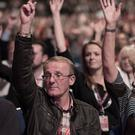 Labour Party members vote during a Brexit debate at the Labour Party's annual conference at the Arena and Convention Centre (ACC), in Liverpool. (Stefan Rousseau/PA)