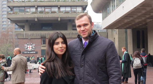 Matthew Hedges with his wife, Daniela Tejada (Family Handout/PA)