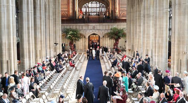 Guests take their seats as they arrive for the wedding of Princess Eugenie to Jack Brooksbank at St George's Chapel in Windsor Castle (Danny Lawson/PA)