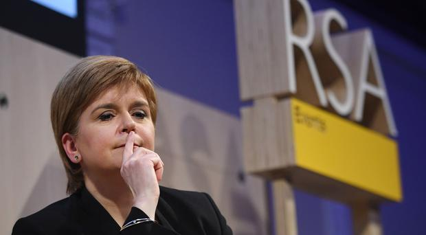 First Minister Nicola Sturgeon pauses while speaking at the Royal Society of Arts in London (Stefan Rousseau/PA)