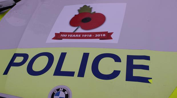 Bedfordshire, Cambridgeshire and Hertfordshire Road Policing Unit will feature a poppy on all of its marked patrol vehicles. (Cambridgeshire Police/ PA)