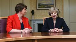 Prime Minister Theresa May and Arlene Foster. The DUP has been angered at the lack of clarity on the Irish border backstop. (Clodagh Kilcoyne/AP)
