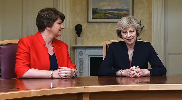 Prime Minister Theresa May and Arlene Foster.