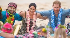 """The Duke and Duchess of Sussex took part in an """"anti-bad vibes"""" circle as part of Fluro Friday (Dominic Lipinski/PA)"""