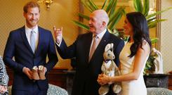 Australia's Governor General Peter Cosgrove gave the Duke and Duchess of Sussex a toy kangaroo with a joey (Phil Noble/PA)