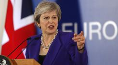 Prime Minister Theresa May in Brussels (Alastair Grant/AP)