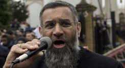 Radical cleric Anjem Choudary speaking outside London Central Mosque and Islamic Cultural Centre (PA)