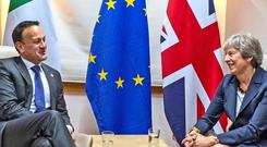 Theresa May with Taoiseach Leo Varadkar in Brussels earlier this year.