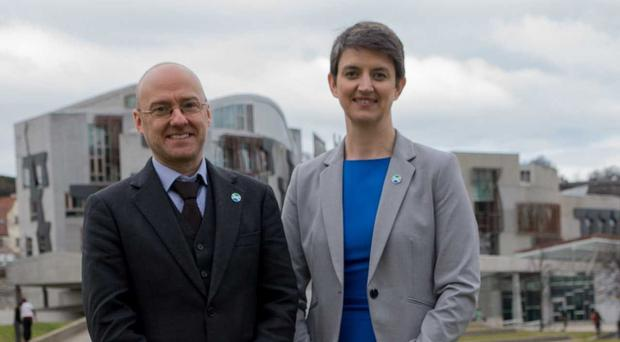 Scottish Greens co-conveners Patrick Harvie and Maggie Chapman back a People's Vote (Scottish Greens/PA)